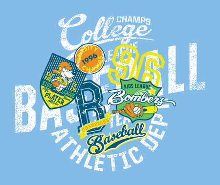 Grunge baseball kids team league college champs, vector print for children wear with applique embroidery patches Illustration
