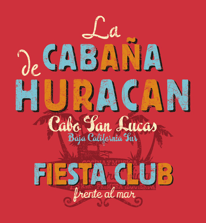 Baja California sur cabana beach music bar and restaurant, vector print for kids Vectores