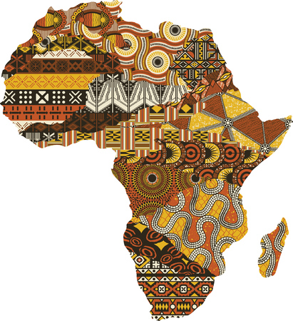 Abstract Africa map patchwork fabric, vector traditional ethnic pattern wallpaper 免版税图像 - 103148320