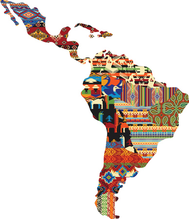 Central and South America patchwork map, native fabric pattern abstract vector wallpaper