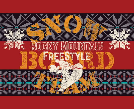 Rocky mountain snowboard freestyle fun kids team, vector grunge print for kids Illustration