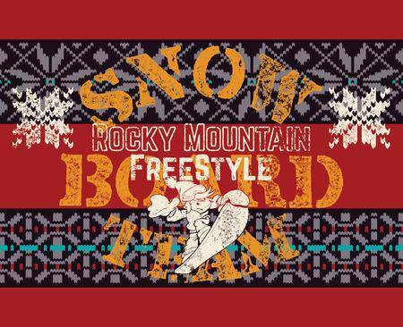 Rocky mountain snowboard freestyle fun kids team, vector grunge print for kids Ilustração
