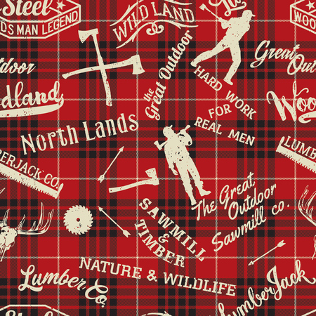Lumberjack and woodsman symbols and silhouettes collection, abstract grunge vector seamless pattern with scottish plaid background