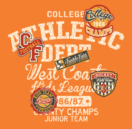 College athletic department kids league, vintage vector print for children wear with hockey baseball football basketball badges applique