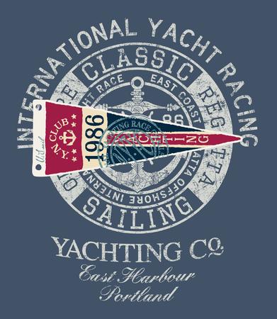 Klasyczne wyścigi jachtów w stylu vintage regaty żeglarskie - nadruk wektorowy na koszulę dla chłopca z łatą do haftu Ilustracje wektorowe