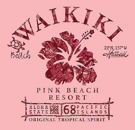 Waikiki beach Hawaii tribal hibiscus, vintage vector print for girl with grunge traditional pattern texture Illustration
