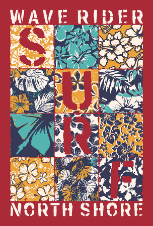 Surf wave rider with hibiscus patchwork, grunge vector print for shirt floral background pattern