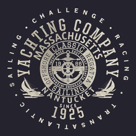 Nantucket yachting club sailing regatta, vector print for boy man grunge effect t shirt in separate layers