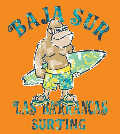Surfista de gorila lindo de Baja Sur, impresión del vector del grunge para el desgaste de la camiseta del niño del niño de los niños Ilustración de vector