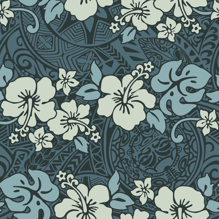 Vintage hibiscus flowers with tribal background, Hawaiian abstract floral vector seamless pattern