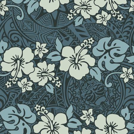 Weinlese-Hibiskusblumen mit Stammeshintergrund, nahtloses Muster des hawaiianischen abstrakten Blumenvektors Vektorgrafik