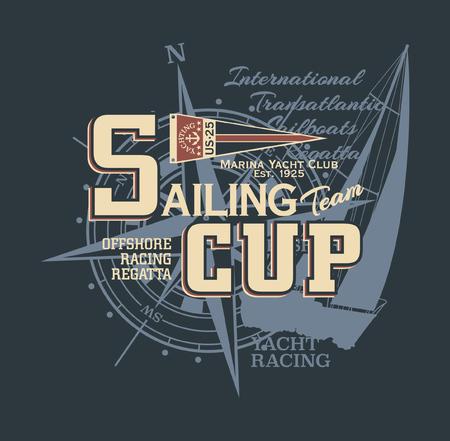 Regata di vela da regata d'epoca classica da regata - stampa vintage vettoriale per camicia da uomo Vettoriali