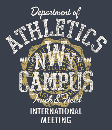College athletic department track and field meeting, vintage vector print for sport wear grunge effect in separate layers
