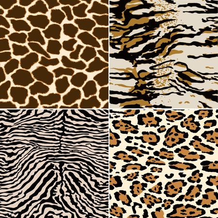 Pieles de cebra jirafa tigre y leopardo, colección de papel tapiz de patrón transparente de piel abstracta de vector Ilustración de vector