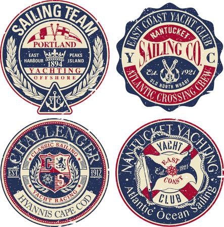 Equipo de vela del club de yates de la costa este, colección de insignias de efecto grunge vector vintage en capas separadas Ilustración de vector