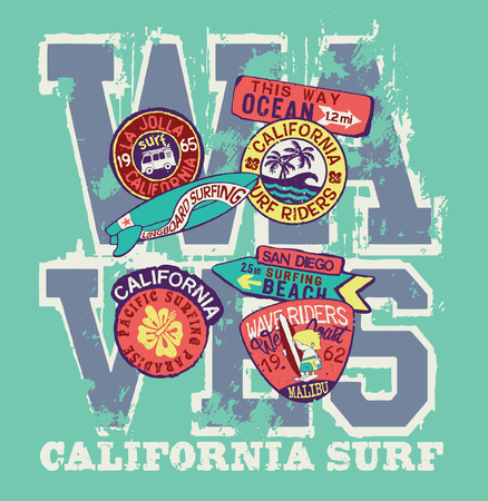 West Coast California surf riders company - vector artwork for kids wear with patches applique