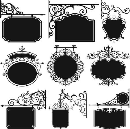 Antiek hangend smeedijzeren bord, vintage verzameling handgesmede uithangbord vectorsilhouetten Vector Illustratie