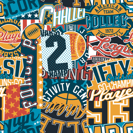 Vintage American college sport patchwork graphic abstract vector seamless pattern
