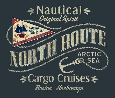 Stampa vettoriale da crociera cargo barca a vela nell'oceano artico nord-occidentale per applique patch ricamo t-shirt ragazzo Vettoriali