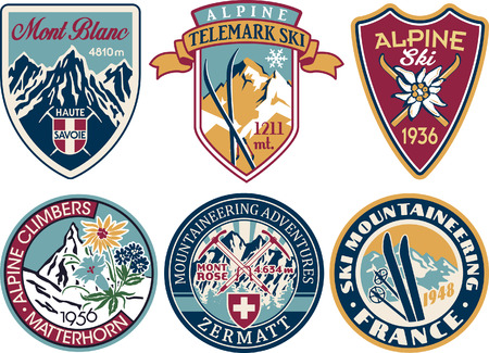 Alpine skiing and mountaineering patches vintage collection vector artworks of alps applique badges