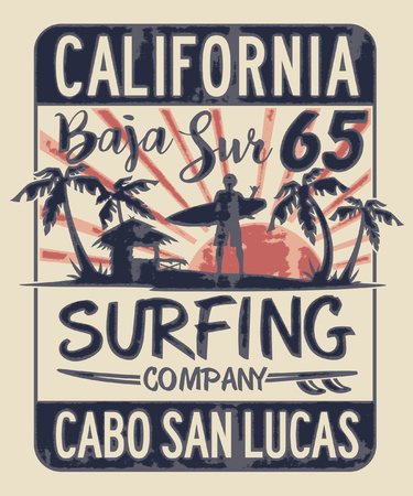 Baja California Sur surfing company vector print for boy grunge effect t shirt in separate layers Vectores