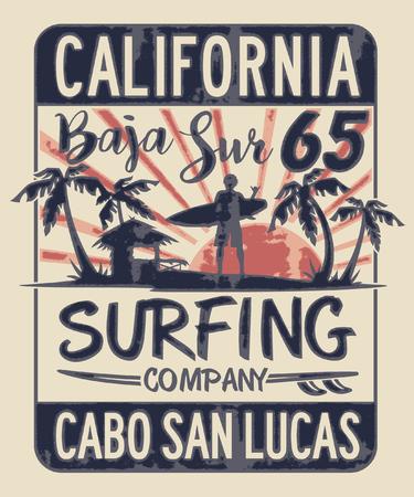 Impresión vectorial de la empresa de surf de Baja California Sur para camiseta con efecto grunge de niño en capas separadas