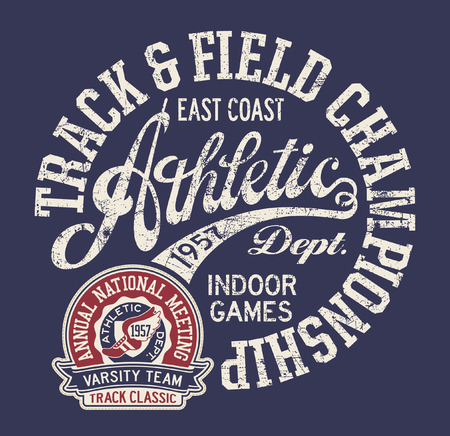 Vintage east coast track and field indoor vector print for boy sport wear grunge effect in separate layers Illustration