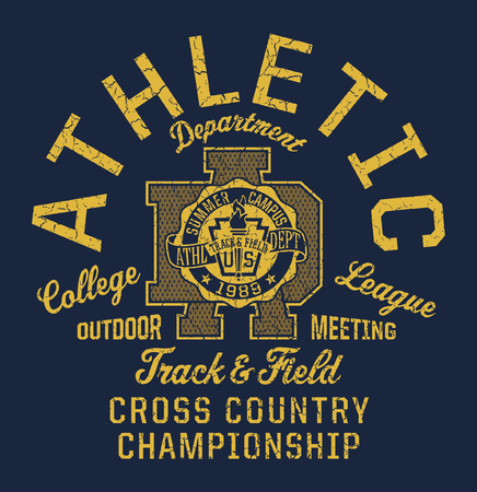 College track and field athletic department. Vintage vector print for sport wear. Grunge effect in separate layers