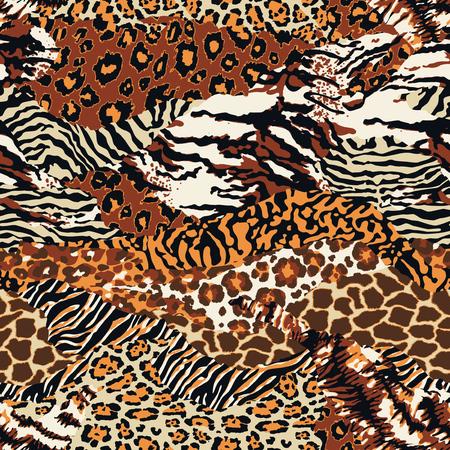 Dzikie zwierzęce skórki patchwork tapety abstrakcyjne futro bez szwu wektor wzór
