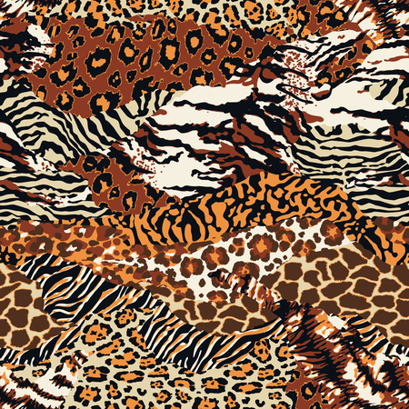 Wild animal skins patchwork wallpaper abstract fur seamless vector pattern