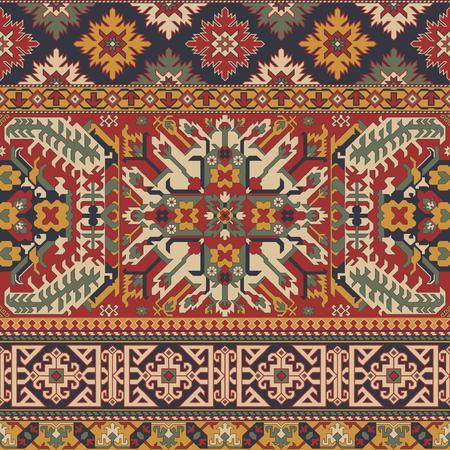 Motivi di tappeti antichi in stile caucasico patchwork vector seamless pattern wallpaper