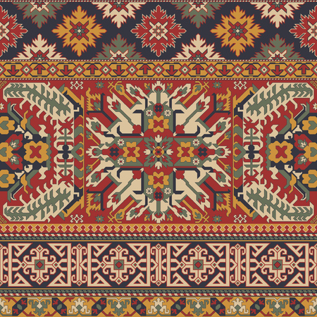 Caucasian style antique rug motifs patchwork vector seamless pattern wallpaper