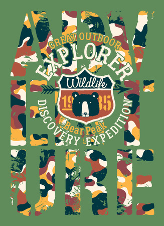Great outdoor adventure discovery expedition vector print with embroidery applique for children wear font with camouflage background