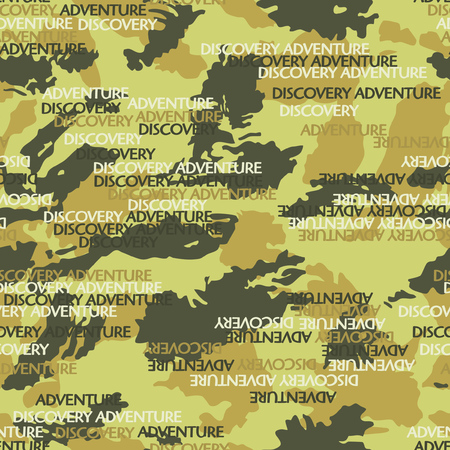 Abstract camouflage background with text vector seamless pattern