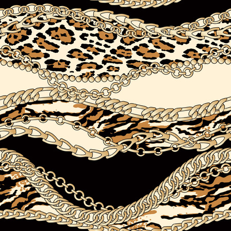 Gold chains with animal fur patches abstract vector seamless pattern patchwork wallpaper Illustration