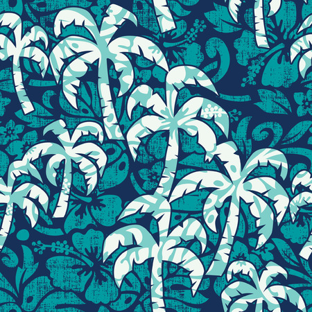 Hibiscus flowers with palms fabric abstract vector seamless pattern grunge effect in separate layers