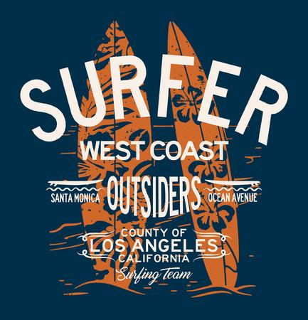 West Coast California surfing team vintage vector artwork for boy