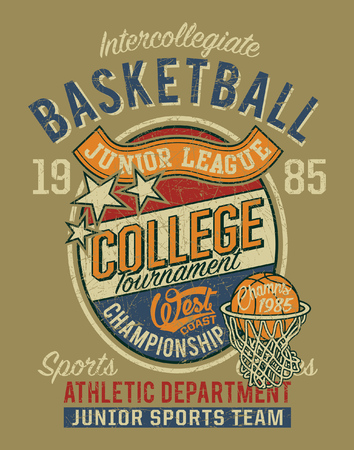 College basketball championship junior league vintage vector print for boy grunge effect t shirt in separate layers