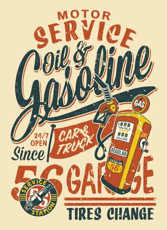 Impresión de vector de servicio de motor de estación de gasolina vintage para efecto grunge de camisa de niño en capa separada