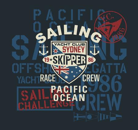 Pacific ocean regatta vintage sailing challenge vector print for boy t shirt