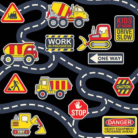 Cute heavy machinery equipment street map abstract vector print for children wear fabric seamless pattern wallpaper