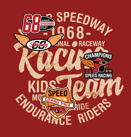 Cute kid driver speedway racing team abstract vector print for children wear with applique patches grunge effect in separate layer  イラスト・ベクター素材