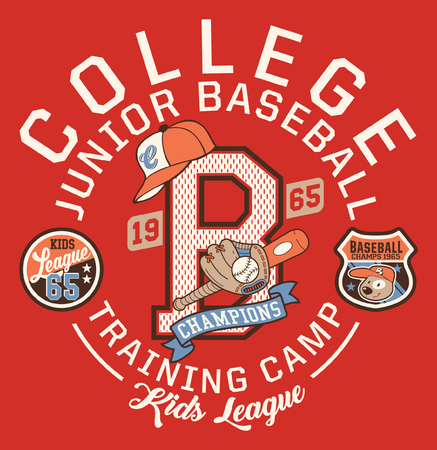 Baseball kids college league champ vector artwork for children wear with print and embroidery applique patch Illustration