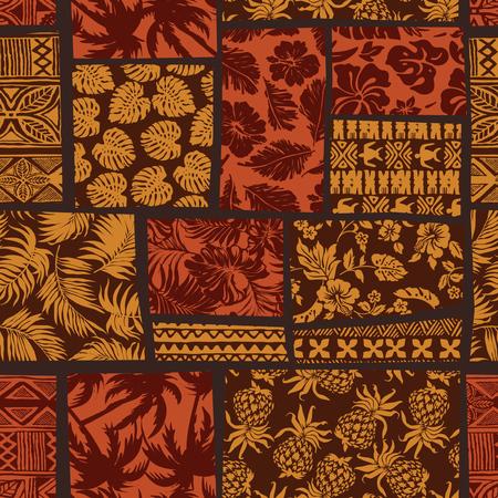 Hawaiian elements fabric patchwork wallpaper vector seamless pattern