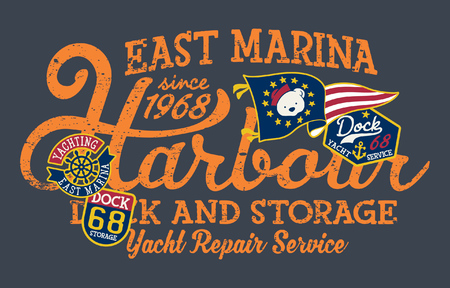 East marina yacht dock cute storage vector print for children wear with patches applique Illustration