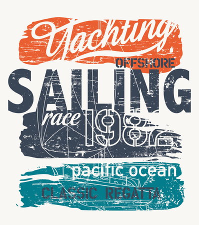 Pacific ocean offshore Racing yacht regatta vector print for boy t-shirt grunge effect in separate layer