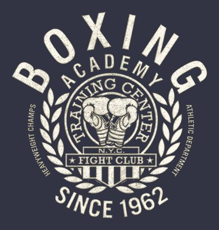 fight club boxing gymnastics academy vector print for boy t shirt grunge effect in separate layer