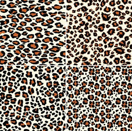 Quattro sfondi astratti in pelle di leopardo con pelliccia selvatica vettore seamless pattern