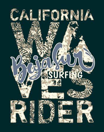 Baja Sur California surf wave rider grunge vector de impresión para camiseta de niño