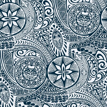 Polynesian hawaiian style tribal tattoo fabric vector seamless pattern